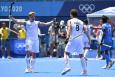 Belgian hockey players celebrate semi-final victory in Tokyo Olympics