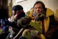 20120201 - BRUSSELS, BELGIUM: Illustration picture shows two homeless men receiving hot food from volunteers on the streets of Brussels. (BELGA PHOTO KRISTOF VAN ACCOM)
