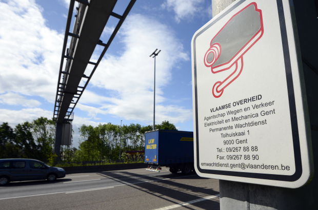 A sign on a Belgian motorway warning drivers of a speed camera in operation (BELGA PHOTO DIRK WAEM)