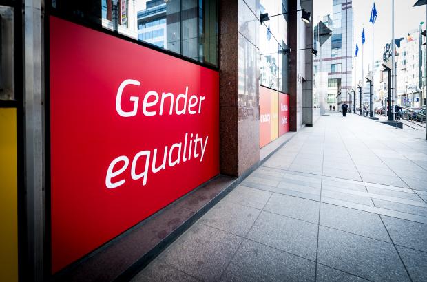 Illustration picture shows a sign that reads Gender equality in Brussels. (BELGA PHOTO SISKA GREMMELPREZ)