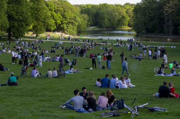 Image shows people enjoying the summer in Bois de la Cambre - Ter Kamerenbos in Brussels, May 2021. (BELGA PHOTO NICOLAS MAETERLINCK)