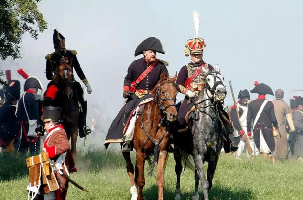 Battle of Waterloo reenactment with Napoleon