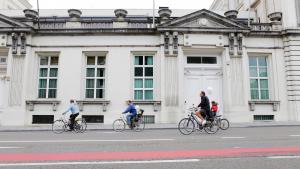 20100919 - BRUSSELS, BELGIUM: Illustration picture shows bikers in the Wetstraat - Rue de la Loi, a main street of Brussels. (BELGA PHOTO BAS BOGAERTS)