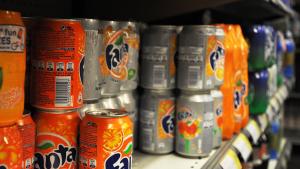BRUSSELS, BELGIUM: Illustration picture shows cans of Fanta on a supermarket shelve in Brussels on Friday 03 May 2013. (BELGA PHOTO SISKA GREMMELPREZ)
