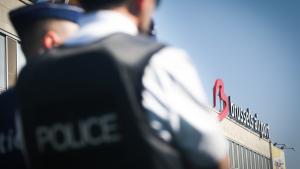 ZAVENTEM, BELGIUM: Illustration picture shows police outside Brussels Airport  in Zaventem, (BELGA PHOTO VIRGINIE LEFOUR)