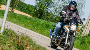 Illustration picture shows a motorcyclist enjoying a ride through the Namur region, Monday 04 May 2020. (BELGA PHOTO BRUNO FAHY)