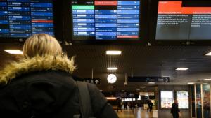 Train commuters in Belgium